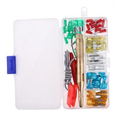 60Pcs Car Truck 5A-30A Mini Blade Fuse Kits Clip with Circuit Tester Pen