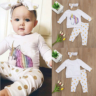 AU Stock Infant Baby Girl Unicorn Top T-shirt Long Pants Headband Outfit Clothes