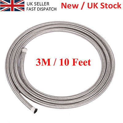 NEW QUALITY AN6 STAINLESS STEEL BRAIDED FUEL HOSE LINE OIL PETROL SILVER- 3Meter