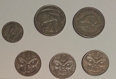 6 x New Zealand coins - some pre-decimal all circulated incl. sixpence, florin