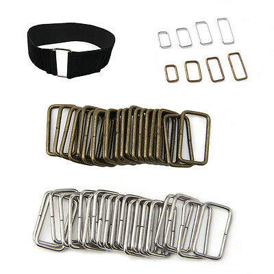 20pcs Belt Bag Buckles Metal Wire Rectangle Ring Loops Strap Adjuster DIY