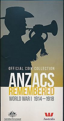 Australia 2015 ANZAC Remembrance Set of 14 20c Coins and Folder Only