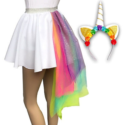 GIRLS Halloween Unicorn Costume FANCY DRESS Headband or WHITE UNICORN Tail Skirt