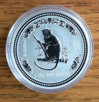2004 1 oz Silver Australian Lunar Year of the Monkey Coin BU