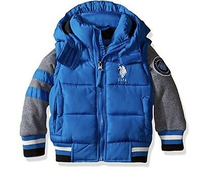 Us Polo Assn Toddler Boys Bubble Jacket Hooded Blue 3T Winter Coat Child Baby