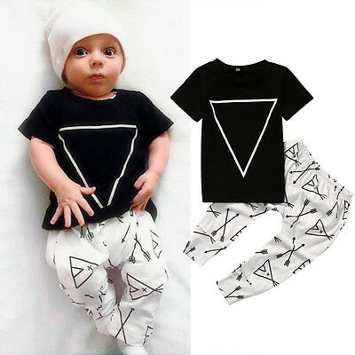 AU Stock Newborn Baby Boys Girls Tops T-shirt +Long Pants Clothes Outfits Set