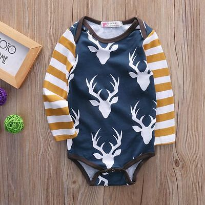 AU Stock Newborn Baby Boys Girls Deer Rompers Jumpsuit Bodysuit Clothes Outfits