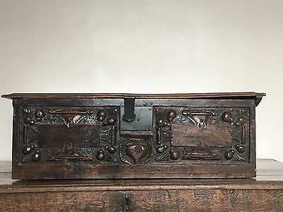 A 17th Century Style Carved Walnut Bible Box