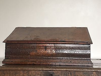A 17th Century Carved Oak Bible Box