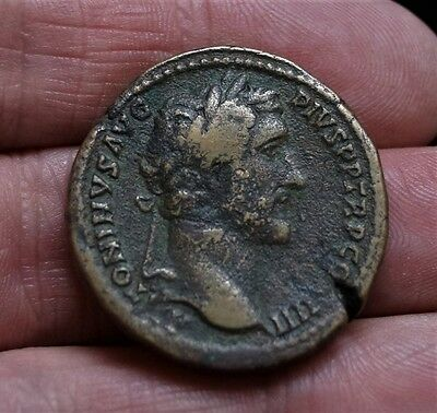 BIG ANTONINUS PIUS - MINERVA-SPEAR-SHIELD. 138-161 A.D. 33mm, 28.9g. SESTERTIUS