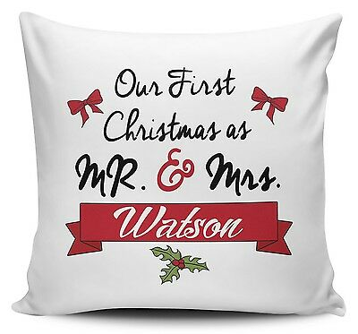 Personalised Our First Christmas As Mr & Mrs Novelty Cushion Cover w/Inner