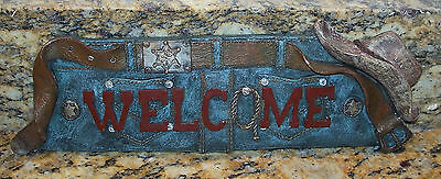 Western Style Blue Jeans Welcome Sign Wall Plaque, Cowboy Hat Sheriff Badge Rope