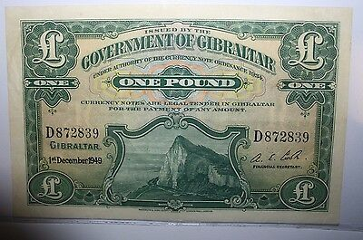 1949 Government of Gibraltar One Pound Note XF+