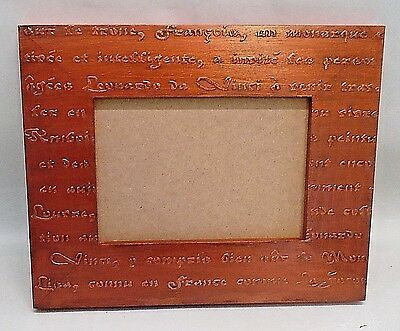 Handmade Wood Picture Frame, Vintage, Metallic Copper, Old French Script, 5 x 7