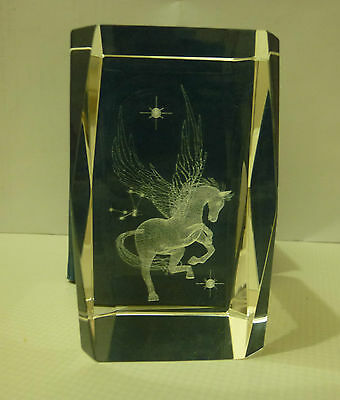 3D Laser Engraved Solid Cube Winged Horse Pegasus
