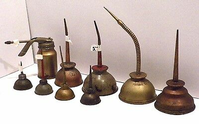 Lot of 9 VINTAGE Oiler Thumb and Pump Cans - Eagle & More !