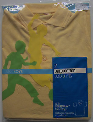 New Boys Marks & Spencer Yellow School Polo Shirts x 2 Age 3 Years