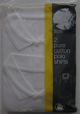 New Boys Girls Marks & Spencer White School Polo Shirts Chest Size 41