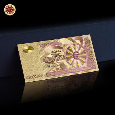 WR € 1 Million Euro Note Coloured Art Banknote 24K Gold Foil Paper Money Gifts