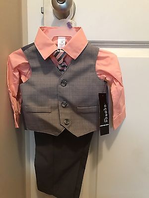 NWT George Baby 4-piece Dressy Vest Suit w/ Tie Set 12 Months Infant