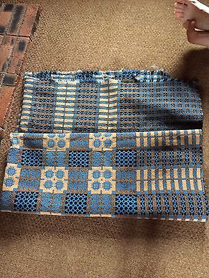 rare vintage welsh blankets blue double patterned  and purple and yellow