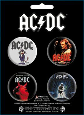 Button - AC/DC - Band Logo Set of 4 Pin Pack Toys New