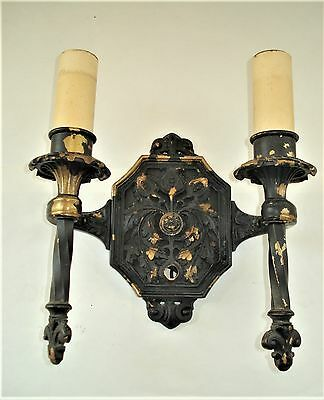 """Vintage Victorian Art Deco Double """"Candle"""" Style Socket Wall Sconce Light..Heavy"""