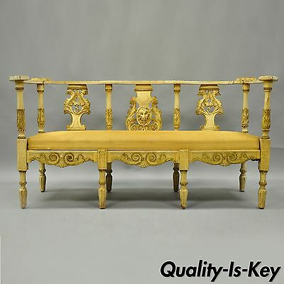 Antique French Renaissance Gothic Carved Distress Painted Settee Bench Empire
