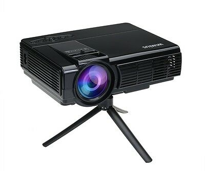 Video Projector HD LCD Projector 1200 Lumens Mini Portable 1080p for Home Theate