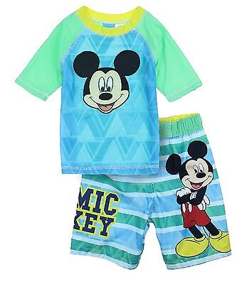 Disney Mickey Mouse Boys Toddler Swim Trunks and Rash Guard Shirt 3t-4t
