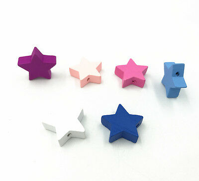 Star shape Wood Beads Mix Color Spacer Baby Pacifier Clip Jewelry Making DIY