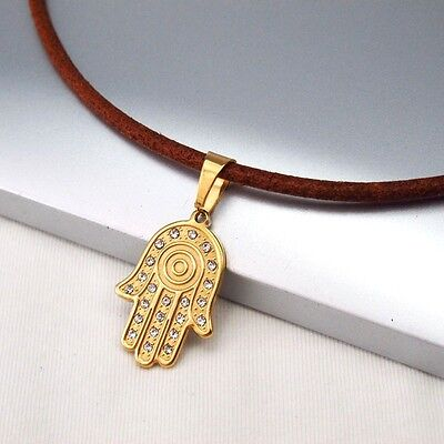 Gold Hand Of Fatimah Tribal Pendant 3mm Brown Leather Cord Hamsa Hand Necklace