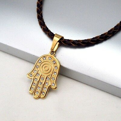 Gold Hand Of Fatimah Tribal Pendant Brown Braided Leather Hamsa Hand Necklace