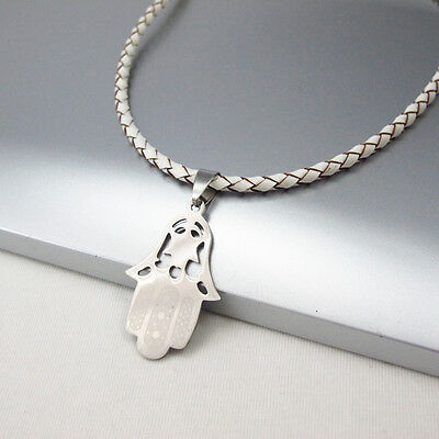 Silver Star Hamsa Hand Charm Pendant 3mm Braided White Leather Ethnic Necklace