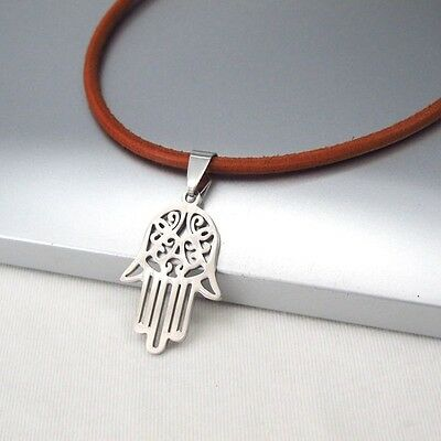 Silver Good Luck Symbol Hamsa Hand Pendant 3mm Brown Leather Ethnic Necklace NEW