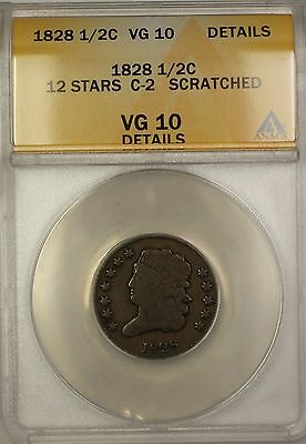 1828 12 Stars Classic Head Half Cent Coin C-2 ANACS VG-10 Details Scratched