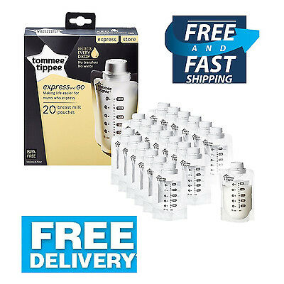Tommee Tippee Express Go Breast Milk Breast Pump Adapter Set Storage Bags  x 20