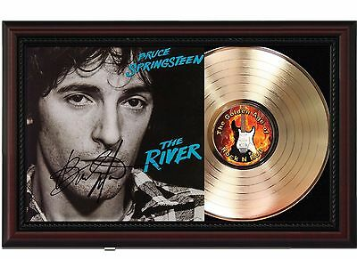 Bruce Springsteen River 24k Gold LP Record With Reprint Autograph In Wood Frame