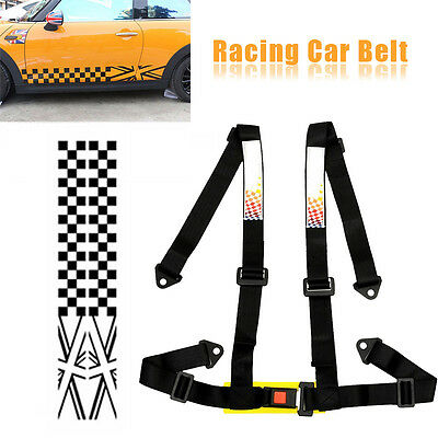 New Car Vehicle 4 Point Racing Safety Strap Seat Belt H Style Bolt In Black