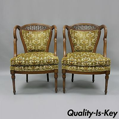 Pair of Vtg Hollywood Regency French Style Squiggle Loop Back Living Room Chairs