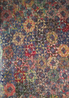 """Vintage Hand Pieced Quilt Scrapy Feed Sack Fabric 60""""x90"""""""
