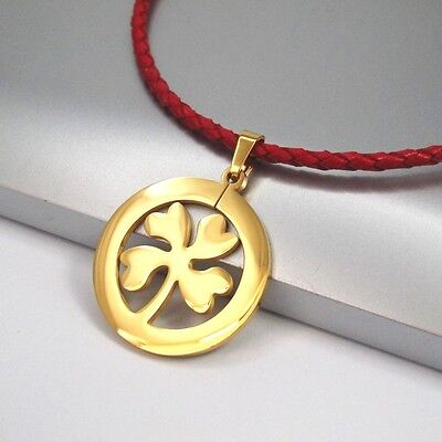 Gold Stainless Steel Lucky Celtic Clover Pendant Red Braided Leather Necklace