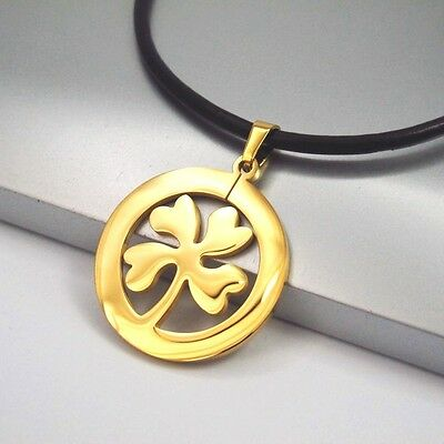Gold Stainless Lucky Celtic Four Leaf Clover Pendant Black Leather Necklace
