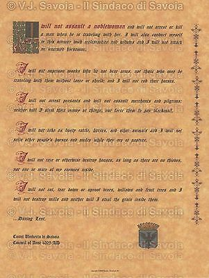 Medieval Knight's Oath Art Print and Renaissance Coin-  House of Savoy