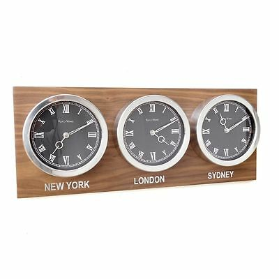 Roco Verre 3 Dial Custom Time Zone World Roman Clocks Walnut Back plate