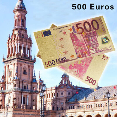 WR Collect World Paper Money €500 EURO Gold Banknote 24K Holiday Souvenir Gifts