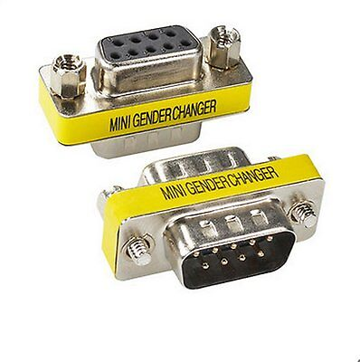 2 X 9 Pin RS-232 DB9 Male to Female Serial Cable Gender Changer Coupler Adapter