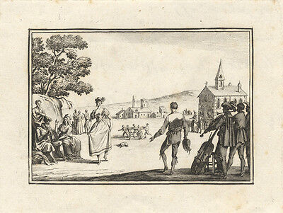 CALLOT, Jacques: Etching ca. 1800 of a 17th century couple dancing