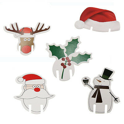 10X Santa Hat Wine Glass Table Place Cards Christmas Decoration Party Decor S
