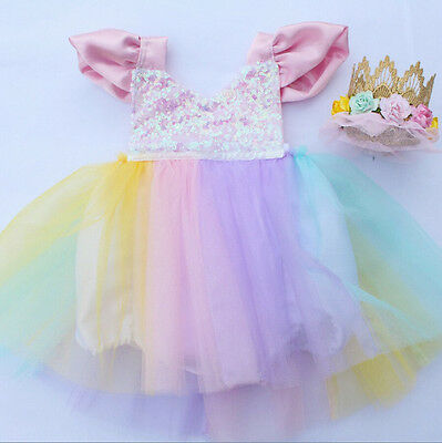 AU Stock Toddler Baby Girls Princess Dress Party Tutu Lace Flower Romper Dress